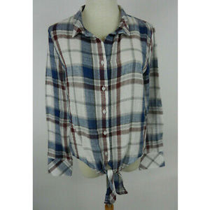 Storia M Blouse LS Blue White Red Plaid With Ties